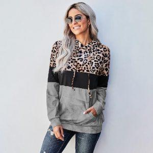 Leopard Print Hooded Top